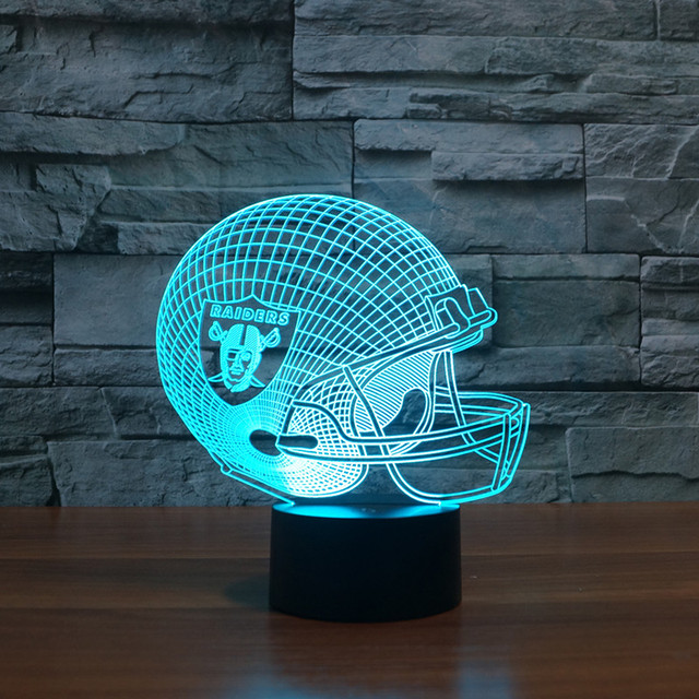 Light Gift Furniture 3D Led Oakland Raiders Football Cap Helmet