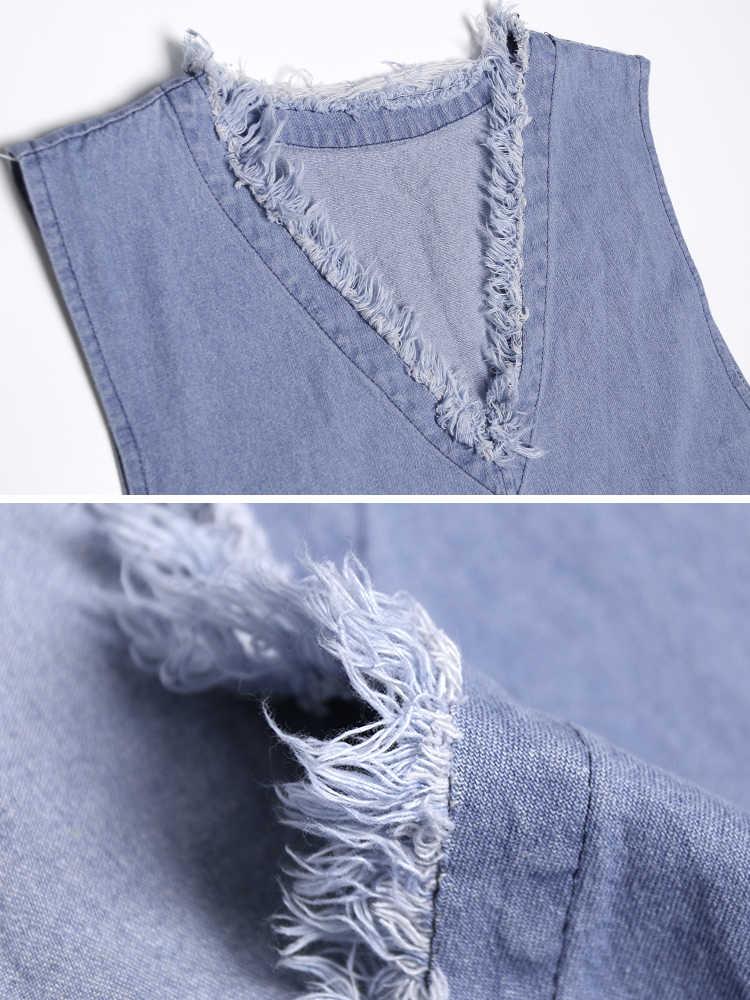 SuperAen без рукавов v-образным вырезом джинсовое платье для женщин 2019 новое летнее темпераментное дамское платье сплошной цвет Повседневная дикая женская одежда