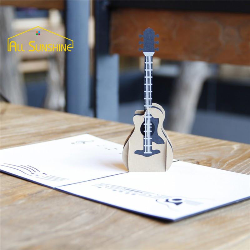 Musik Gitarre Laser Geschnitten Hochzeit Einladungskarten Postkarte 3D  Pop Up Grußkarten Mit Umschlag Souvenir
