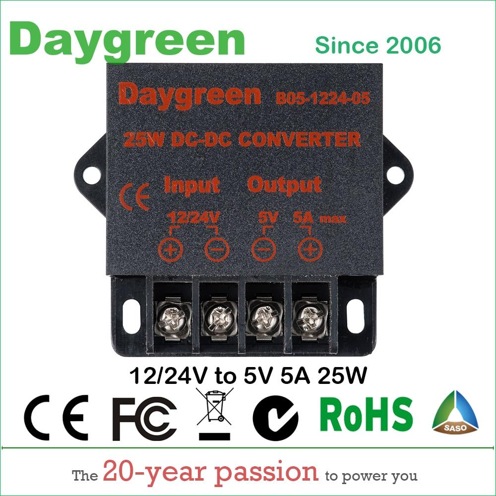 20PCS 12V 24V to 5V 5 AMP 25W DC DC Converter Regulator Car Step Down Reducer Daygreen Wholesale Factory Fedex Fast Delivery leyu brand ce fast delivery 40w 24v dc