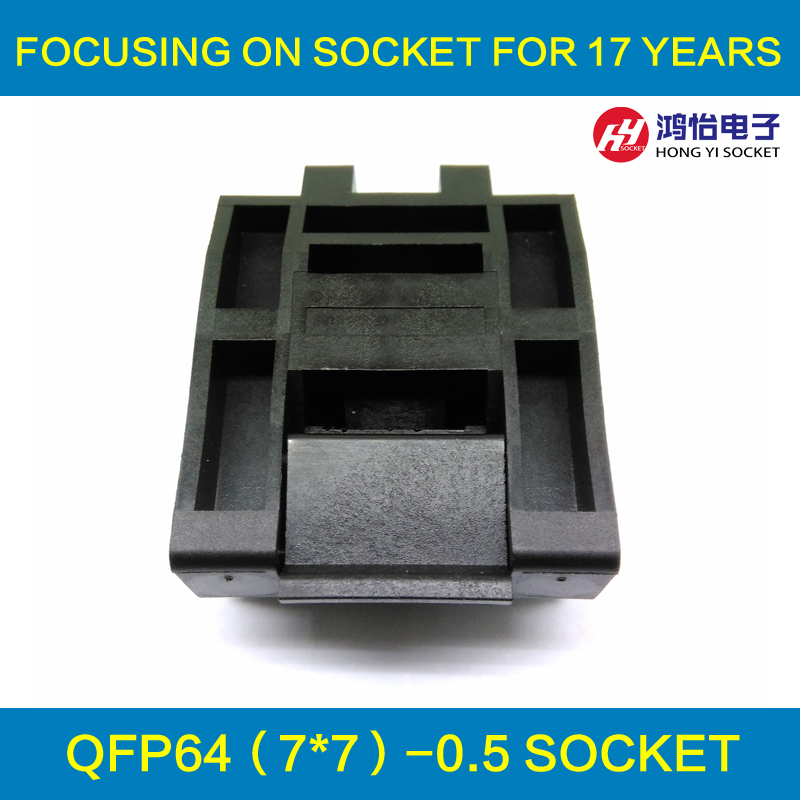 QFP64 TQFP64 LQFP64 Clamshell Structure Burn in Socket Pitch 0.5mm FPQ-64-0.5-06 STM32 Test Socket Flash Programming Adapter crystal probe oscillator test socket burn in socket for 7050 4pin crystal size 7 0x5 0mm xo crystal test socket burn in socket