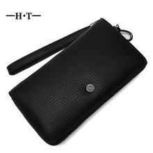 HT 100% Cow Leather Wallet Men Long Purses Simple Style Mans Wallets With Strap Embossed Card Holders Day Clutches Coin Purse