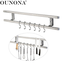 OUNONA Wall-mounted Magnetic Knife Holder Double Bar Rack for Knives Utensils Kitchen Sets Home Organization