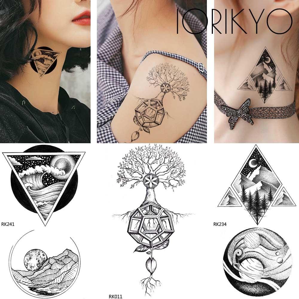Dropwow Iorikyo Women Arm Tattoo Stickers Geometric Forest Men Sexy