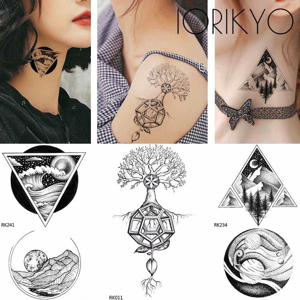Iorikyo Fashion Mountain Moon Tattoo Women Arm Stickers Temporary Tattoo Men Forearm Geometric Waterproof Tattoo Christmas Gifts