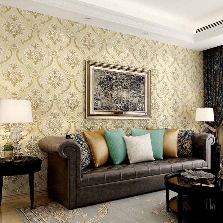 Купить с кэшбэком Hot Deluxe Damascus 3D Wallpaper Bedroom Living Room Sofa Blue Pink Beige Yellow Wall Paper Roll