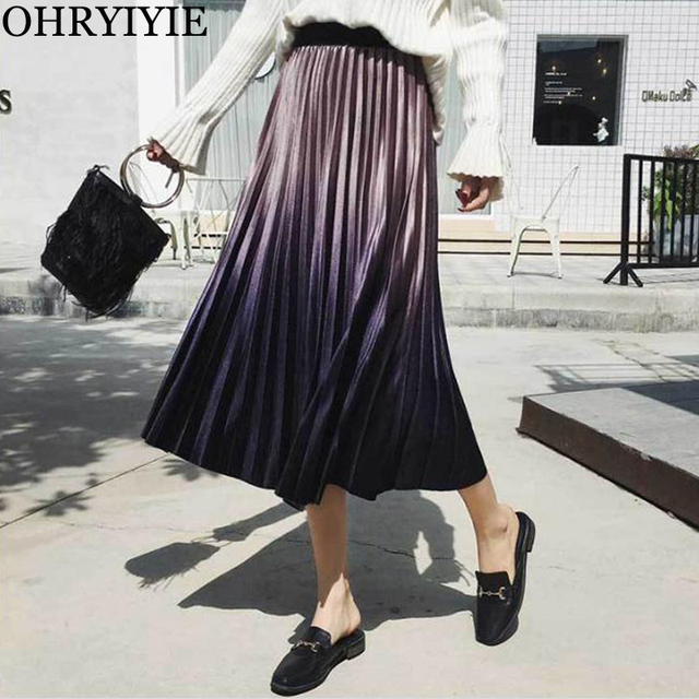 OHRYIYIE 2018 Autumn Winter Fashion Velvet Pleated Skirt Women Fashion High Waist Gradient Color Long Skirt Female Saias Faldas