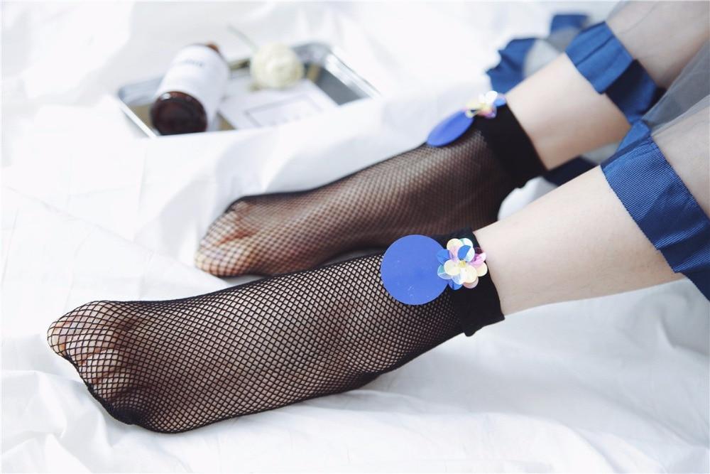 2017 Blue sequins Harajuku goth punk series cool female essential hollow thin black fishnet short socks women sexy socks