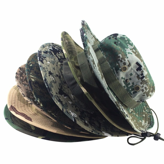 c2d24c1984376 ... hot camouflage bucket hats wide brim sun caps camo fishing hunting  hiking women men safari summer