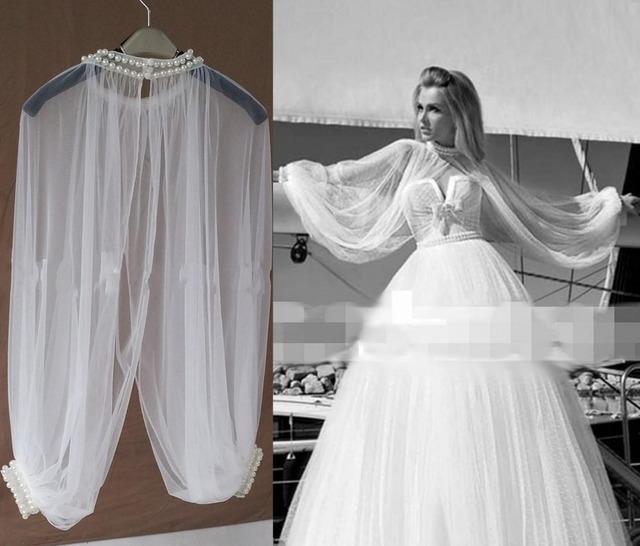 2017 Novo Estilo Moda Branco/Marfim Pérolas Beading Casamento Cabo Shrugs Boleros Casamento Casacos Xailes Nupcial Wraps Casamento Feito Sob Encomenda