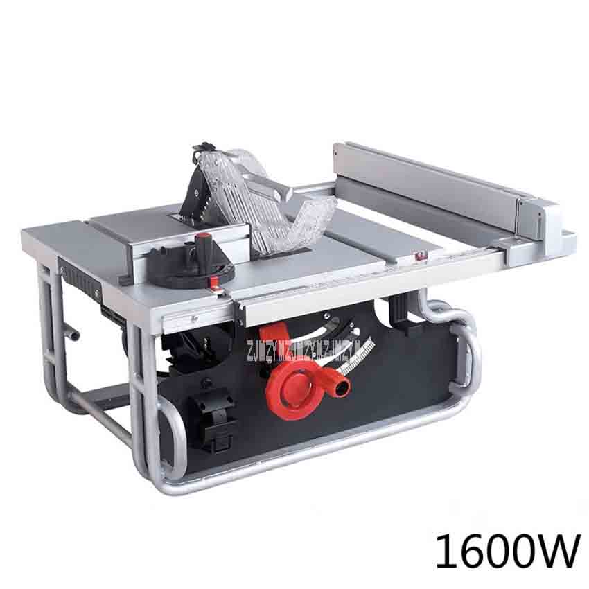 10 Inch Multi-function Desktop Cutting Machine Small Household Woodworking High Precision Sliding Table Saw 72558UF 220V 1600W le100 multi function desktop socket countertop manual flip table plug multimedia interface