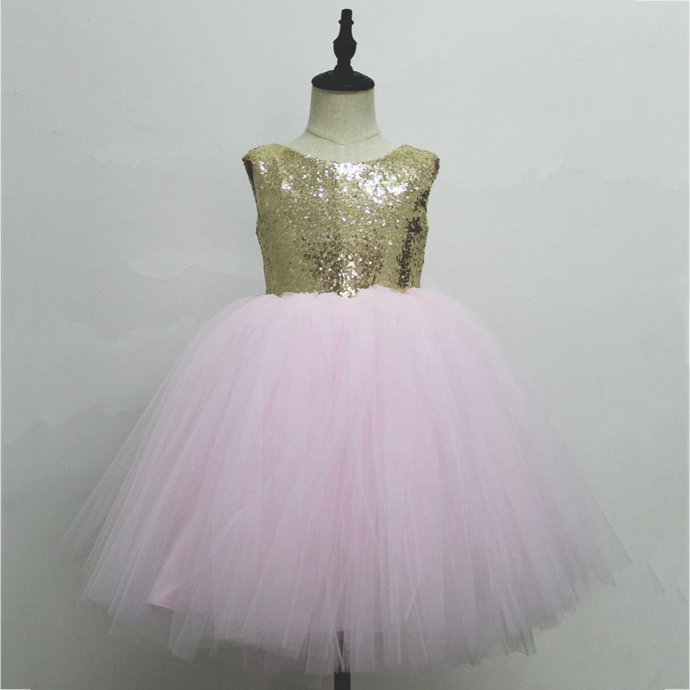 Pink Teen Wedding Dress Sequin Knee Length O-neck Paillette Girls Sequin Dress for Girls Sequin Evening Dress Tutu with Bowknot (11)