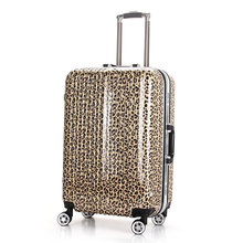YISHIDUN Suitcase bag women men Aluminum frame, ABS+PC trolley case, new style, Leopard Print travel luggage, lock, mute,20 24