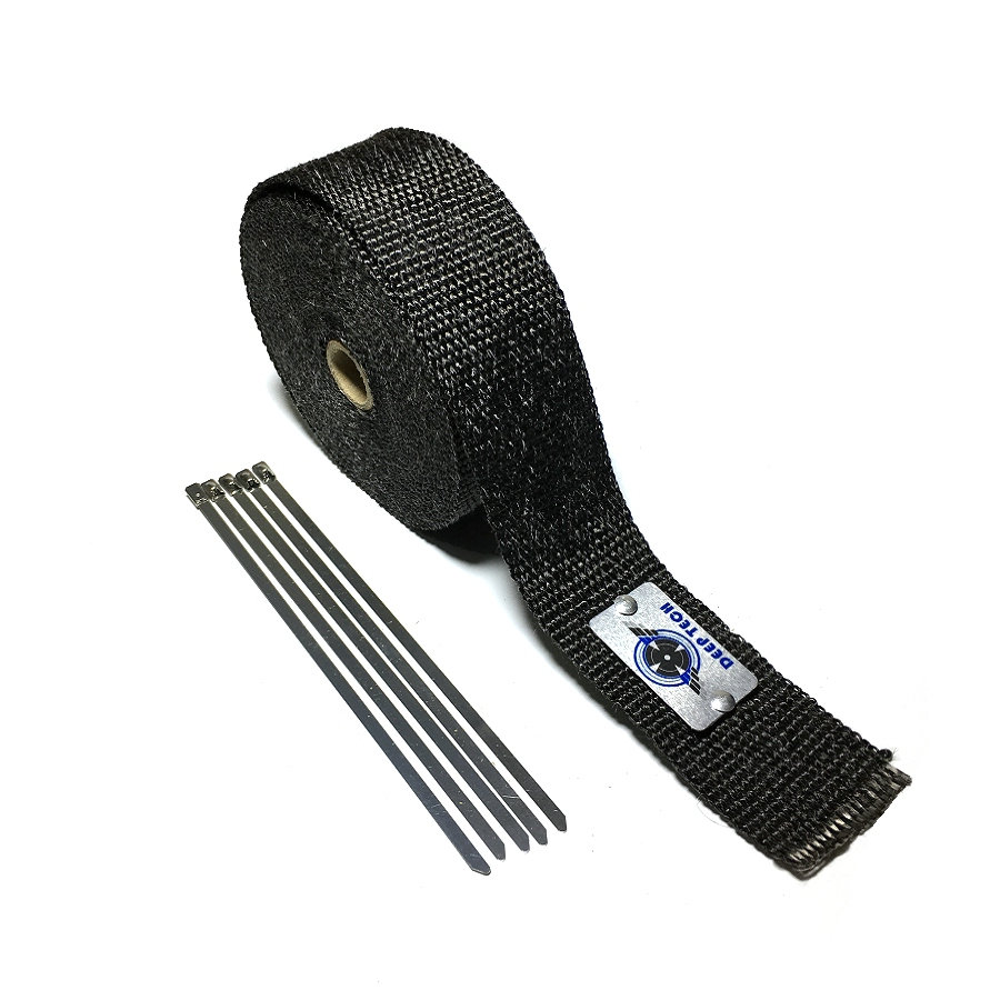 2 x15' Free Shipping Motorcycle Exhaust Muffler Pipe Header Heat Resistant Black Colour Exhaust Wrap With Stainless Steel Ties 10pcs stainless steel metal cable ties tie zip wrap exhaust heat straps induction pipe