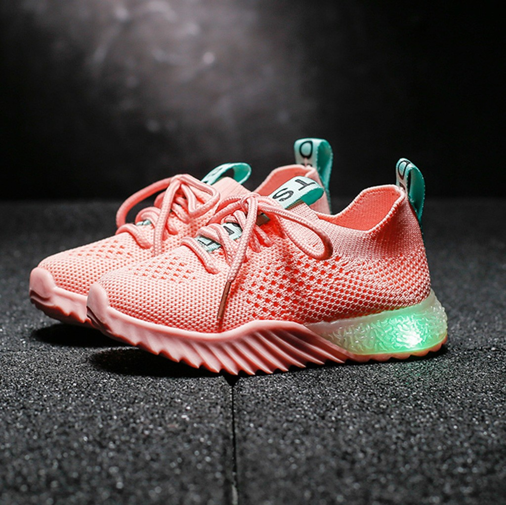 Shoes Sneakers Mesh Baby-Girls Sport Breathable Luminous Boys Kids Children Letter Led