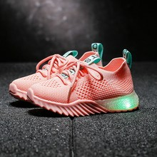 2019 Children Kids Baby Girls Boys Letter Mesh Led Luminous Sport Run Sneakers