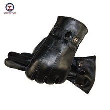 Winter man Sheep skin leather gloves male warm Super soft Stitching design Suede mens Operating mobile phone men mittens 02