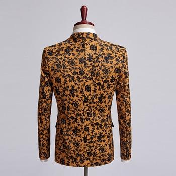 PYJTRL Men Plus Size Casual Blazer Orange Black Flowers Pattern Suit Jacket Slim Fit Wedding Groom Disfraz Hombre Stage Clothes