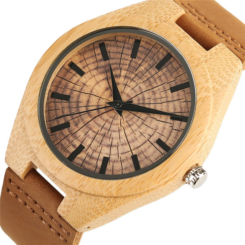 Handmade Natural Wooden Wristwatch for Men Women Bamboo Wood Grain Creative Genuine Leather Wristband Quartz Watch unique hollow dial men women natural wood watch with full wooden bamboo bangle quartz wristwatch novel handmade clock gifts item