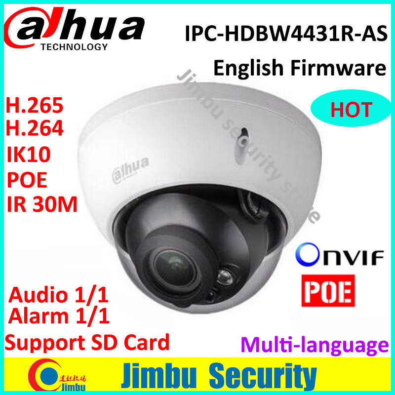 Dahua H.265 IP Camera IPC-HDBW4431R-AS IR HD 1080p 4MP IR security cctv Dome Camera Support POE network IK10 IP67 Multi-language free shipping dahua cctv camera 4k 8mp wdr ir mini bullet network camera ip67 with poe without logo ipc hfw4831e se