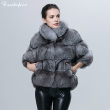 Fanshefeier winter lady's fur coat women short jacket Real silver blue fox fur for , stand-up collar with Seven-quarter sleeve