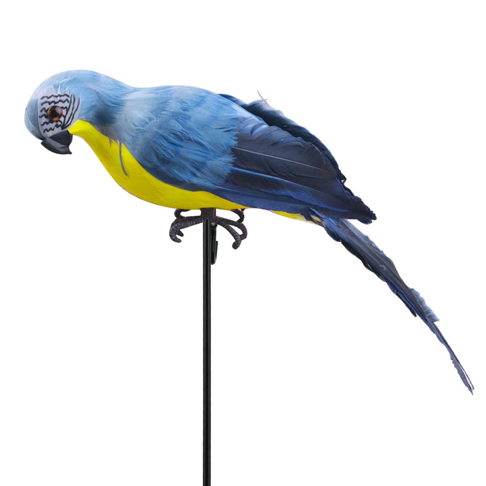 Blue and Gold Macaw Parrots 10 Sculpted Resin 9 and 8 Inches High TII Set of 3 Tropical Bird Figurines