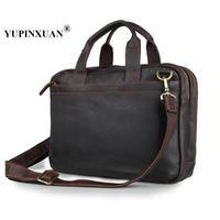 YUPINXUAN Europe Vintage Cow Leather Handbags Fit 15 Laptop Genuine Leather Briefcase Large Capacity Cowhide Shoulder