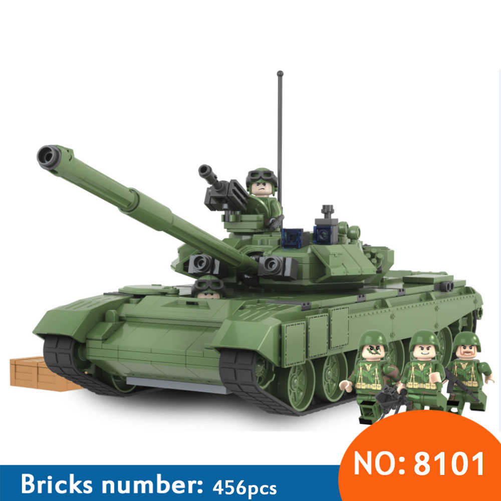 AIBOULLY 2017 New 456pcs Military Battle 2016 Tank Model Toys Russia T90A Marine Hero Building Blocks Assembled minis