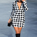 Женщины Сексуальная Плед Shirt Dress 2017 Новая Мода отложным Воротником С Длинными Рукавами Свободные Короткие Платья Осень Повседневная Vestidos