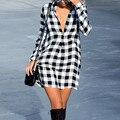 Camisa xadrez das mulheres sexy dress 2017 de moda de nova turn-down collar manga comprida botão solto vestidos curtos outono casuais vestidos