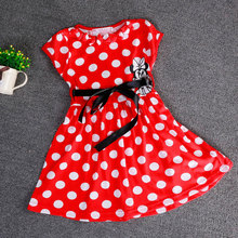 2016 Hot Baby Girls Mickey Dresses Kids Girl Minnie Mouse Shortsleeve Cotton Clothes Dress Red Bow