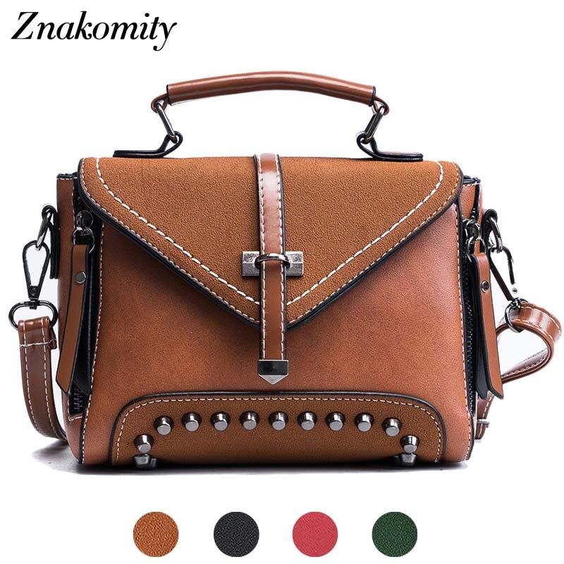 Znakomity Retro leather shoulder bags women's vintage bag women handbag ladies casual Brown small messenger crossbody bag female
