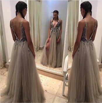 Sexy Deep V-Neck Side Split Long Evening Dress 2019 New Arrivals Backless Sparkly High Slit See Through Abendkleider Lang 4