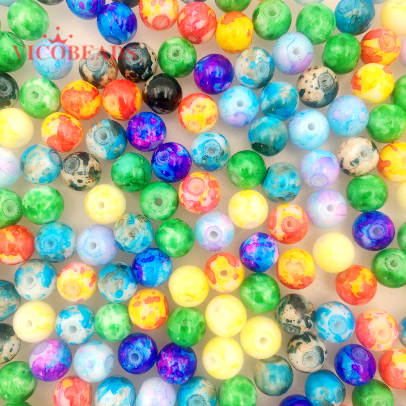 """36/"""" Strand Mixed Bright Fruit Punch Colored 6mm Round Glass Beads"""