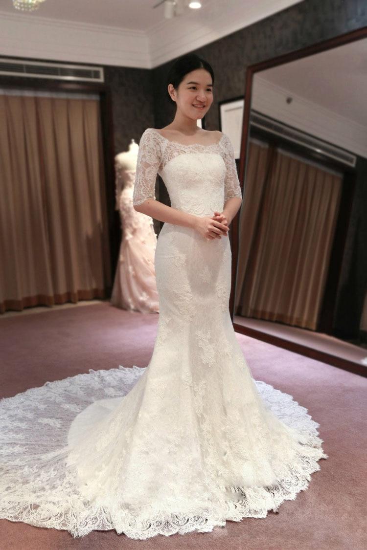 Aliexpress.com : Buy Half Sleeves Transparent Mermaid Wedding ...