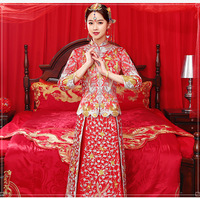 Red Bride Gold Rhinestone Embroidery Dragon Phoenix Tailing Vintage Wedding Qipao Traditional Chinese Dress Long Cheongsam Gown