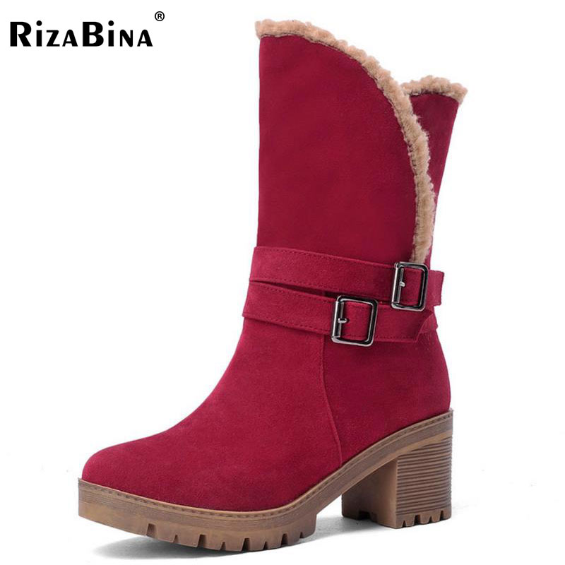 RizaBina Size 34-43 Women Mid Calf High Heel Boots Warm Fur Short Thick Heels Boots Cold Winter Shoes Snow Botas Woman Footwears asumer large size 34 43 mid calf boots round toe med heels platform women boots high quality pu leather thick winter snow boots