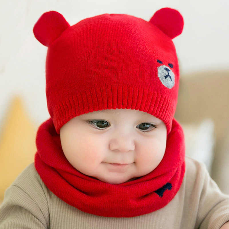 2 Cái/bộ Mùa Đông Ấm Áp Dệt Kim Nón Cho Bé Khăn Choàng Mèo Tai Gấu 0-6 Tháng Cho Bé Bonnet Sơ Sinh Bé Trai cô Gái Mũ Beanie