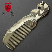 100% Natural Genuine Branco yak chifre pente Artesanal de cabo Longo-Branco Phoenix Arte escultura de cuidados de saúde do cabelo pente antiestático DK288