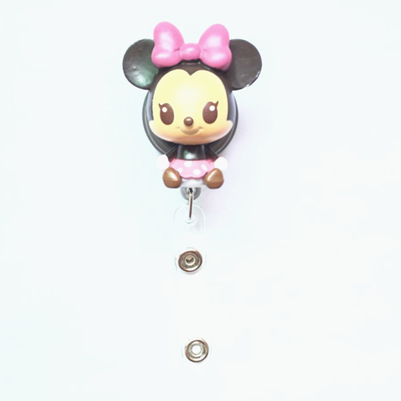 Cartoon Minnie Mouse Retractable Pull Key ID Card Badge Holder Name Tag Card Case Reel For School Office Company 1pcs/lot