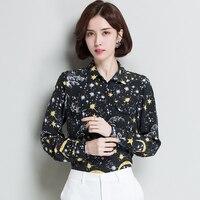 2XL Brand 100% Silk Shirt 2019 Spring Summer Women Blouses New Fashion Printed Lapel Commuter OL Blouses Silk Blouses Tops Women