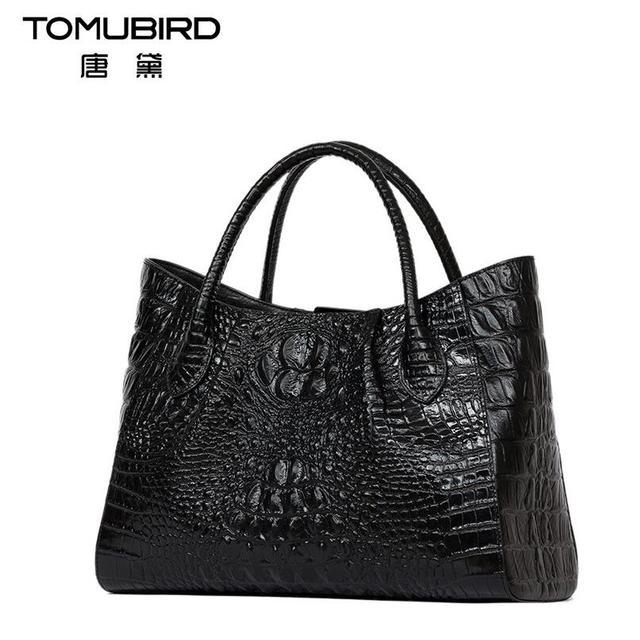 2017 New women bag genuine leather brands quality cowhide alligator grain embossing fashion women handbags shoulder big bag