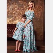 New Summer Mom and Daughter Dress Lotus Half Sleeve One Shoulder Lotus Sleeve Dress Mother and Daughter Clothes for The Family