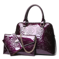 Yesello 3pcs Set PU Leather Women Composite Bags Handbags Female Fashion Printing Chain Clutch Messenger Bag