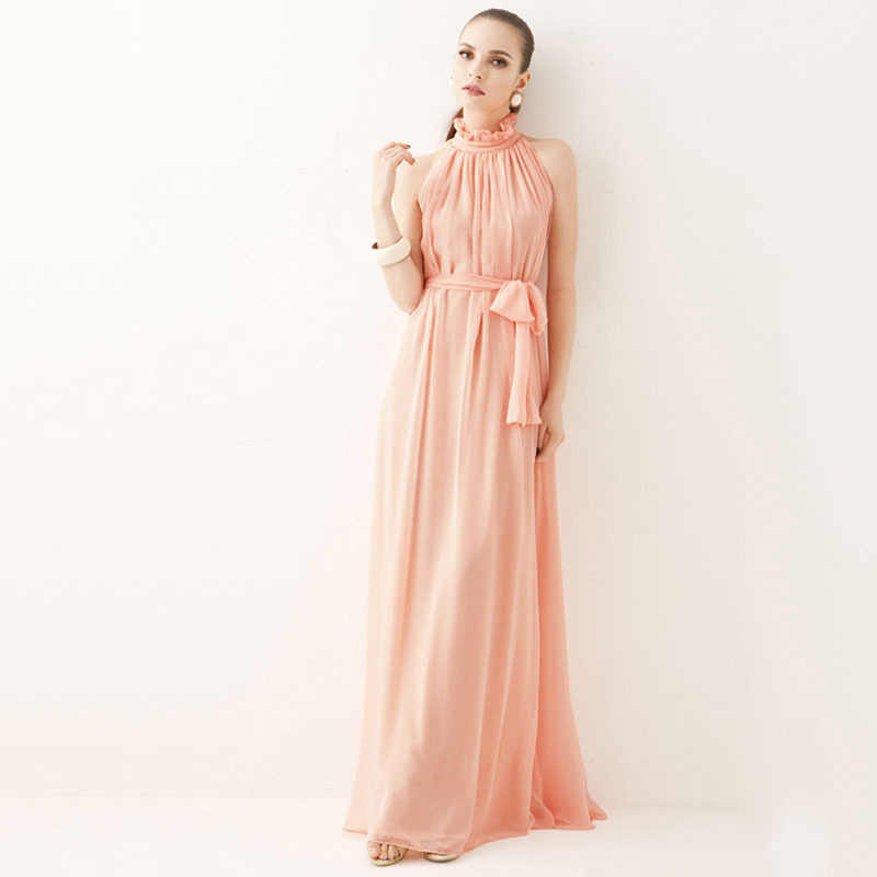 54bb99b31430 ... 2019 summer women's bohemian dress hanging neck round neck sexy chiffon  and ankle dress long party ...