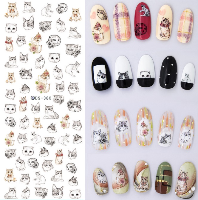 1 Sheet Cat Rabbit Dog Animal Water Transfer Nail Stickers Cat Nail Decals Nail Art Sticker Tattoo Decals for Manicure DIY yzwle 1 sheet diy decals nails art water transfer printing stickers accessories for manicure salon yzw 156