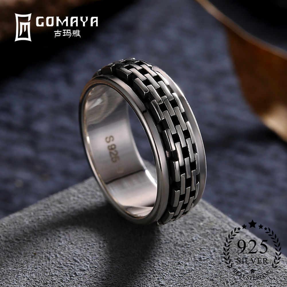GOMAYA True 925 แหวนเงินสเตอร์ลิงแฟชั่น Gothic Vintage Rock Punk ค็อกเทลนิ้วมือแหวนเครื่องประดับขายส่งของขวัญ Unisex