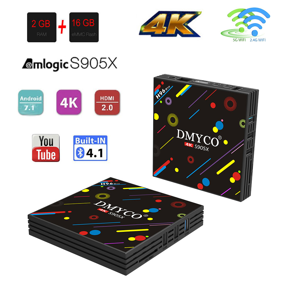 Vendite calde Android TV Box Amlogic S905X H96 pro Smart TV Box 2 GB/16 GB Bluetooth 4.0 100 Mbps USB 3.0 WiFi 4 K ultra HD Set Top Box