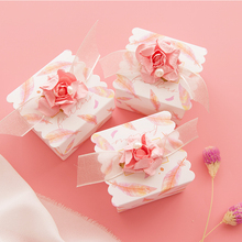 50Pcs Dream Pink gift box wedding favor box baby shower baptism candy box chocolate packaging boxes goodie bags Party Supplies dream box