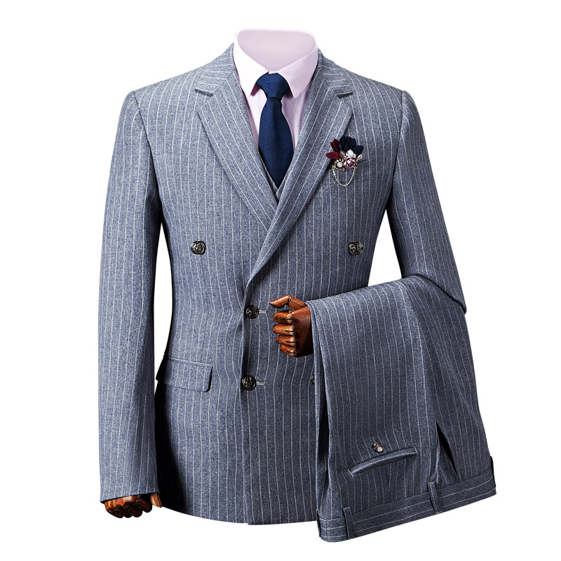 OSCN7 Grey Double Breasted Pinstriped Custom Men Suit 2018 Retro Wool Slim Fit 3 Piece Tailor Made Suit Men Casual Mens Clothes